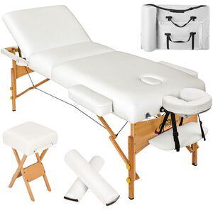 3 Zonen Massageliege mit 10cm Polsterung, Rollen und Holzgestell weiß