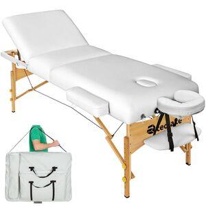 3 Zonen Massageliege mit 10cm Polsterung und Holzgestell weiß