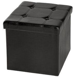 Faltbarer Sitzwürfel aus Kunstleder mit Stauraum schwarz