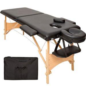 2 Zonen Massageliege mit 5cm Polsterung und Holzgestell schwarz