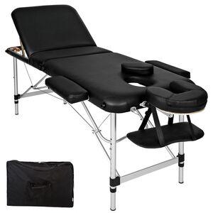 3 Zonen Massageliege mit 5cm Polsterung und Aluminiumgestell schwarz