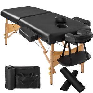 2 Zonen Massageliege mit 7,5cm Polsterung und Holzgestell schwarz