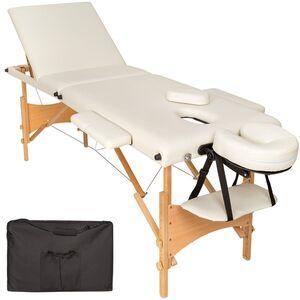 3 Zonen Massageliege mit Polsterung und Holzgestell beige