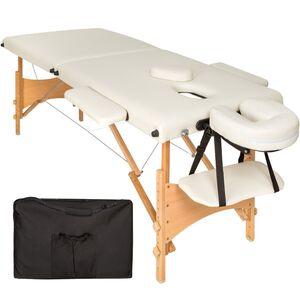 2 Zonen Massageliege mit 5cm Polsterung und Holzgestell beige