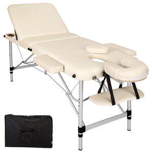3 Zonen Massageliege mit 5cm Polsterung und Aluminiumgestell beige