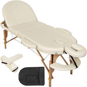 Massageliege oval mit 5cm Polsterung, Rollen und Holzgestell beige