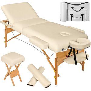 3 Zonen Massageliege mit 10cm Polsterung, Rollen und Holzgestell beige