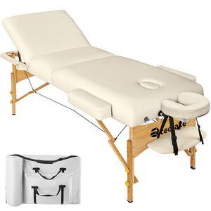 3 Zonen Massageliege mit 10cm Polsterung und Holzgestell beige