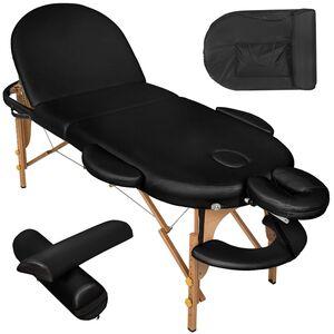Massageliege oval mit 5cm Polsterung, Rollen und Holzgestell schwarz