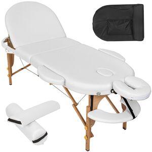 Massageliege oval mit 5cm Polsterung, Rollen und Holzgestell weiß