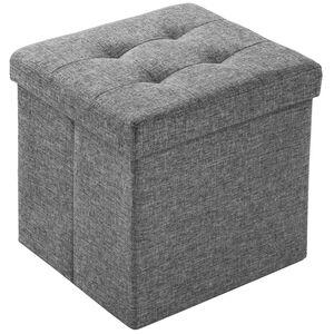 Faltbarer Sitzwürfel aus Polyester mit Stauraum hellgrau