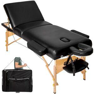 3 Zonen Massageliege mit 10cm Polsterung und Holzgestell schwarz