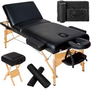 3 Zonen Massageliege mit 10cm Polsterung, Rollen und Holzgestell...