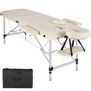 2 Zonen Massageliege mit Polsterung und Aluminumgestell beige