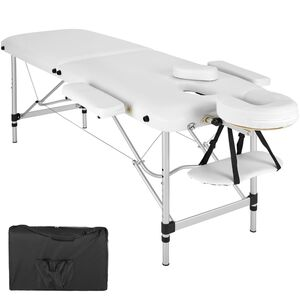 2 Zonen Massageliege mit Polsterung und Aluminumgestell weiß