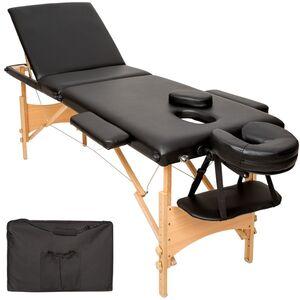 3 Zonen Massageliege mit Polsterung und Holzgestell schwarz