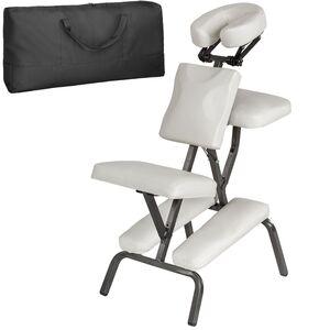Massagestuhl aus Kunstleder weiß