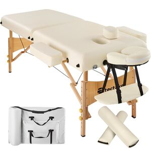 2 Zonen Massageliege mit 7,5cm Polsterung und Holzgestell beige