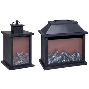 Laterne aus Kunststoff in zwei Größen mit Flammeneffekt