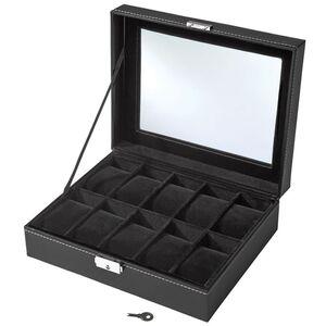 Uhrenbox mit 10 Fächern inkl. Schlüssel schwarz