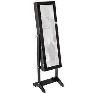 Schmuckschrank mit Spiegel, hochkant schwarz