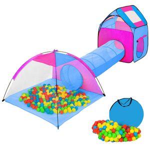Spielzelt mit Tunnel, 200 Bällen und Tasche blau
