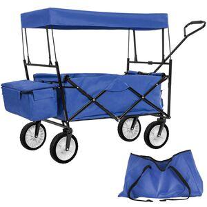 Faltbarer Bollerwagen mit Dach und Tragetasche blau