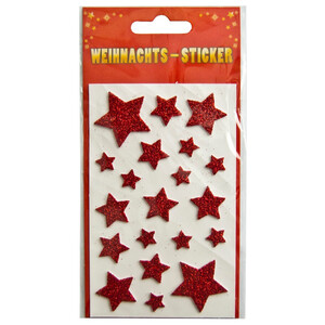 Weihnachtssticker Sterne rot mit Glimmer