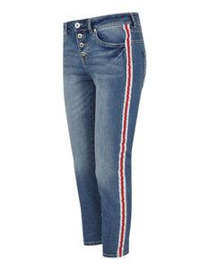 Damen Stone Washed Girlfriend Fit Jeans mit Galonstreifen