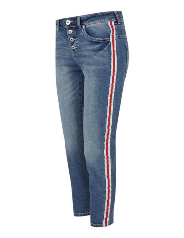 Damen Stone Washed Girlfriend Fit Jeans mit Galonstreifen