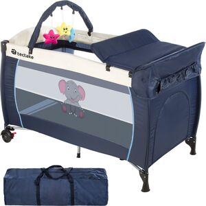 Kinderreisebett Elefant mit Wickelauflage blau
