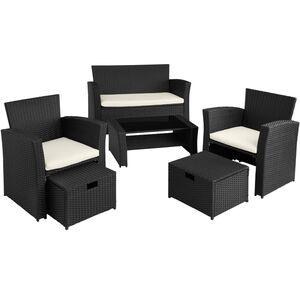 Rattan Sitzgruppe Modena schwarz