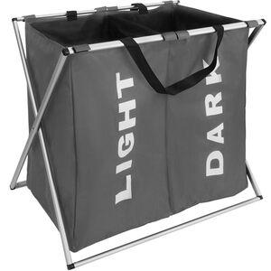 Wäschesammler klappbar mit 2 Fächern dunkelgrau