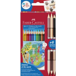 Faber-Castell, 10 Farbstifte Colour GRIP + 3 Doppelbuntstifte in Hautfarben