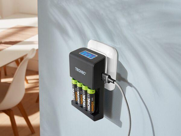 TRONIC Akku Ladegerät mit zusätzlichem USB-Ausgang /& LCD Display //AA 2400mAh