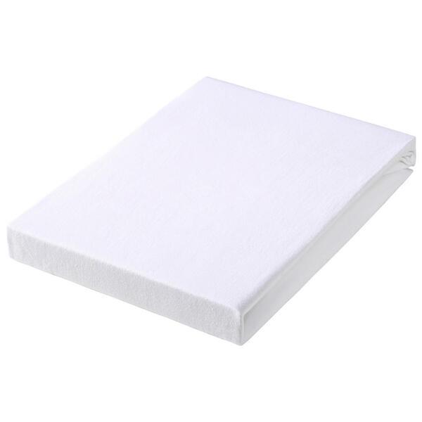 SPANNBETTTUCH Jersey Weiß bügelfrei, für Wasserbetten geeignet