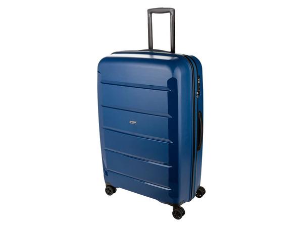 TOPMOVE® Koffer, 90 L Volumen, bis 28 kg Füllgewicht, 4 Rollen, Polypropylen-Schale, blau