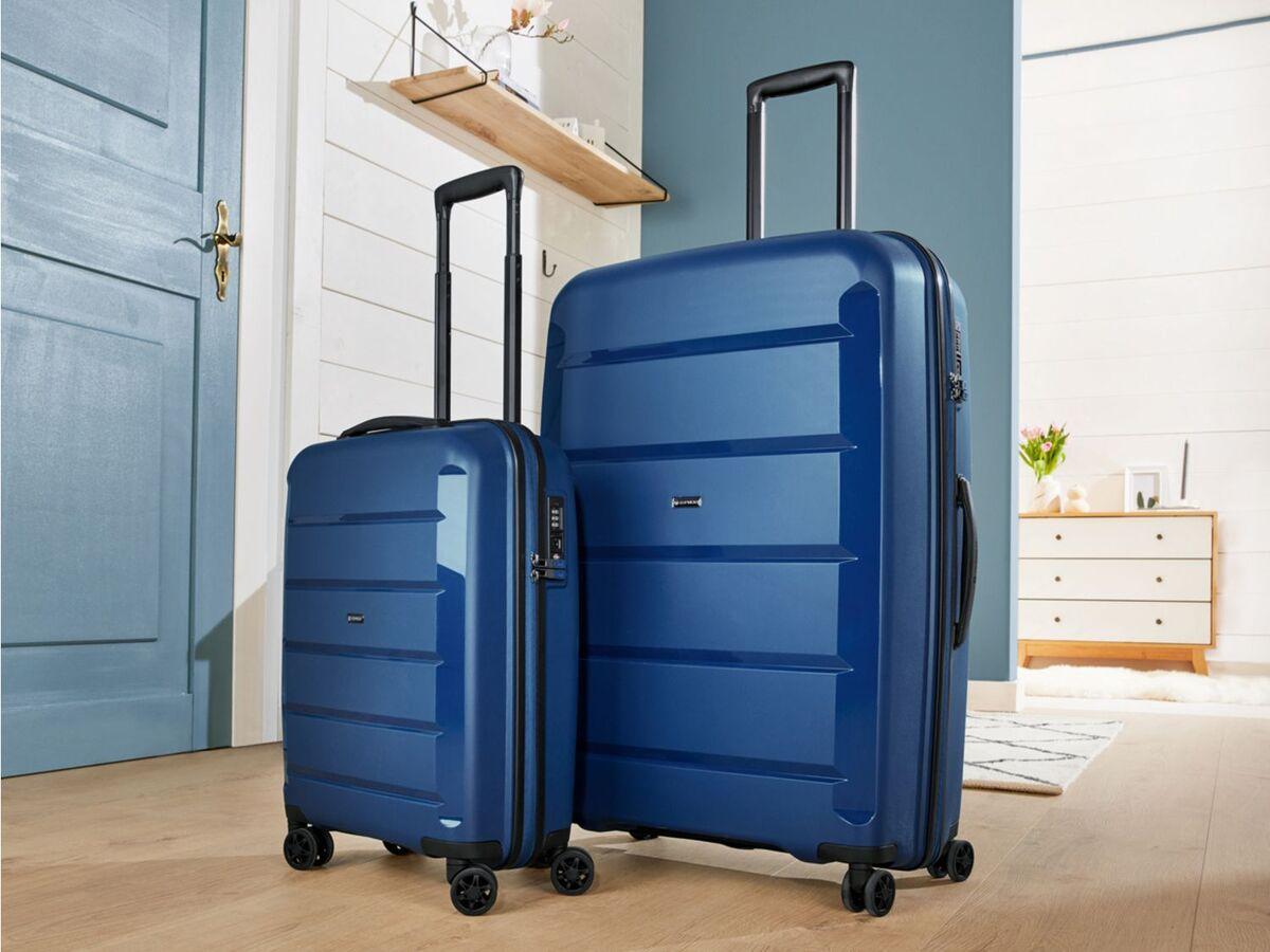 Bild 2 von TOPMOVE® Koffer, 90 L Volumen, bis 28 kg Füllgewicht, 4 Rollen, Polypropylen-Schale, blau