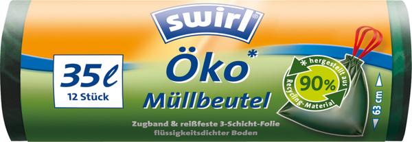 Swirl Öko Zugband-Müllbeutel 35 Liter Höhe 63 cm 12 Stück