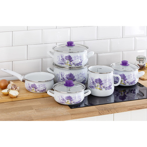 Casa Royale Retro-Emaille Stielkasserolle Lavendel