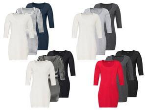 ESMARA® Longshirt Damen, 3 Stück, mit Bio-Baumwolle und Elasthan