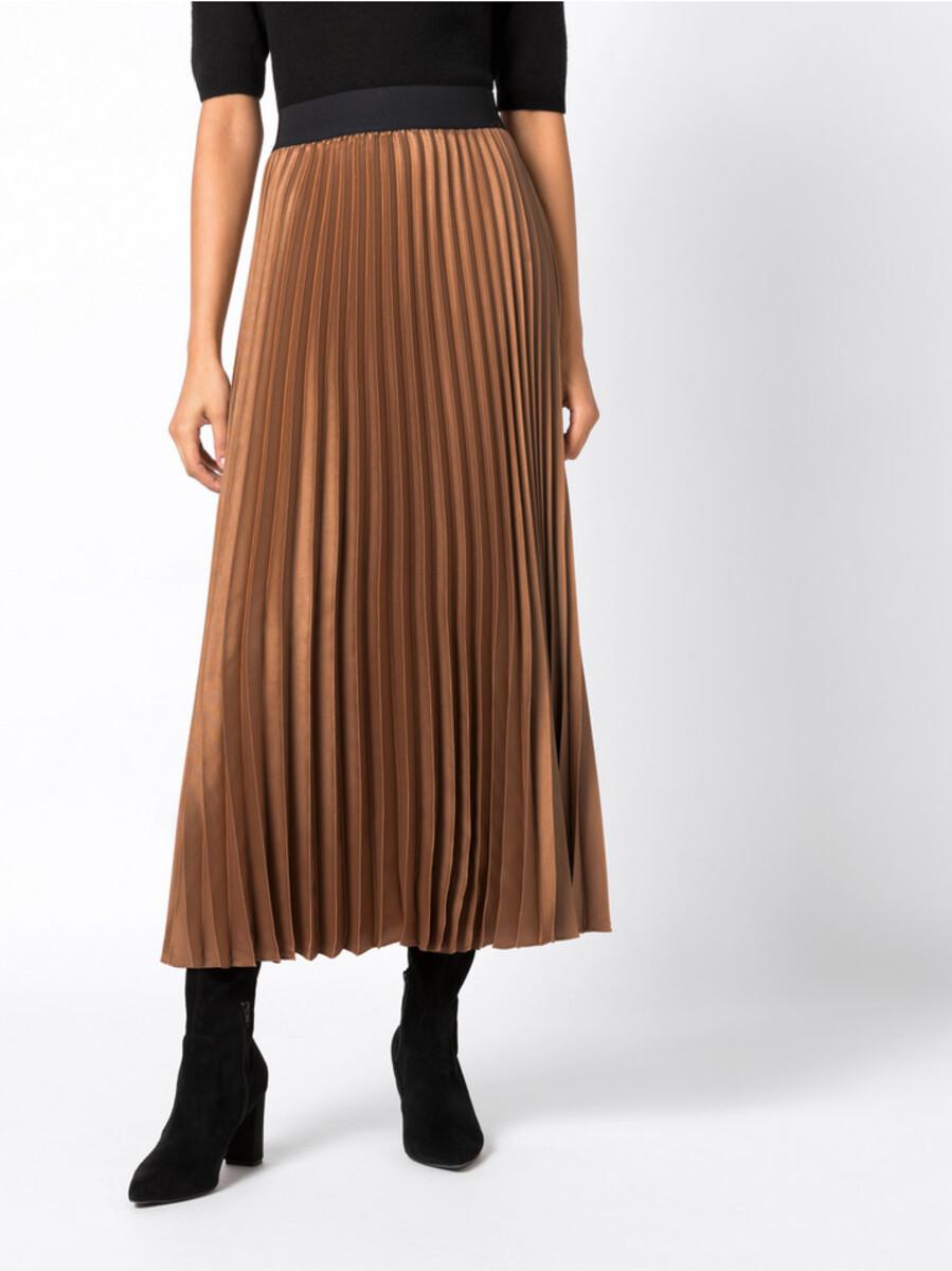 Bild 1 von Hallhuber Plisseerock mit Kontrastbund für Damen in karamell