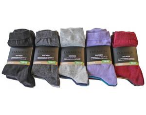 Damen Socken, 5er Pack uni sortiert, Größe 39/42