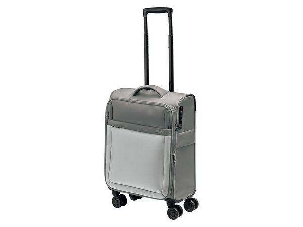 TOPMOVE® Trolley Koffer, 35 l Volumen, 4 Rollen, mit Zahlenschloss, grau