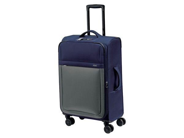 TOPMOVE® Koffer, 62 l Volumen, 4 Rollen, mit Zahlenschloss, blau/grau