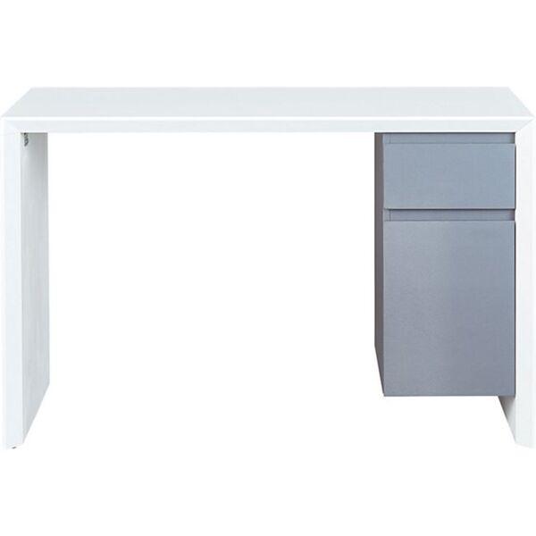Inter Link Schreibtisch Megara in Weiss und Grau mit 1 Schublade und 1 Tür