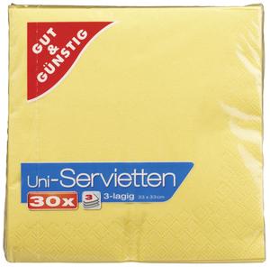 EDEKA Servietten gelb, 3-lagig 30 Stück
