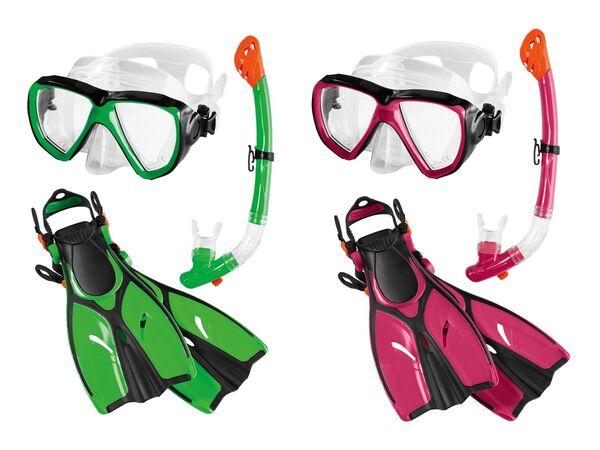 CRIVIT® Kinder Tauch- und Schnorchelset, bestehend aus Tauchmaske, Schnorchel und Flossen