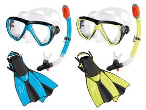CRIVIT® Tauch- und Schnorchelset, bestehend aus Tauchmaske, Schnorchel und Flossen