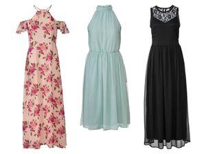 ESMARA® Kleid Damen, in Chiffon-Qualität, Nackenschlitz mit Knopf, doppellagig verarbeitet